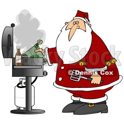 Clipart Illustration of Santa Holding A Hot Pat And Spatula While Grilling Food On A BBQ © djart #27261