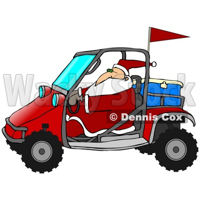 Clipart Illustration of Santa In His Suit, Driving A Mud Bug With An Ice Chest In The Back © djart #27264