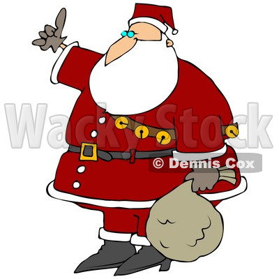 Clipart Illustration of Santa Wearing His Red Suit, A Belt And A Sash Of Jingle Bells, Carrying His Sack Of Toys At His Side And Hitchhiking © djart #27304