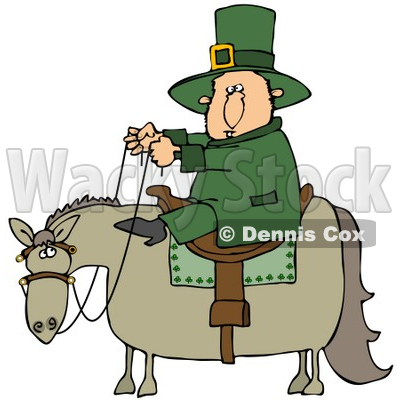Clipart Illustration of a St Patricks Day Leprechaun In Green, Riding On A Chubby Horse © djart #27319