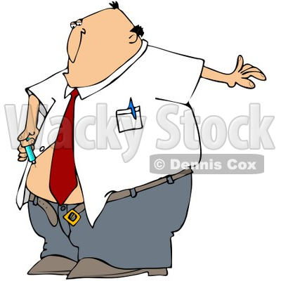 Clipart Illustration of a Diabetic White Businessman Giving Himself An Insulin Shot In His Belly © djart #27396