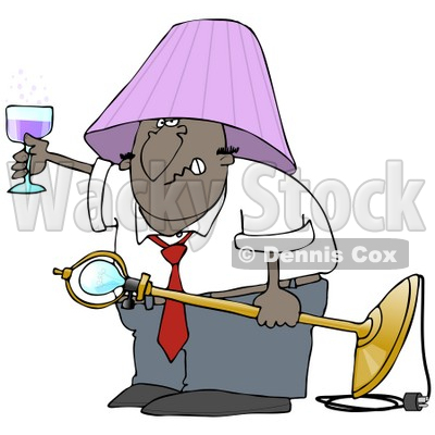 Clipart Illustration of a Snarling Drunk Black Man With A Purple Lamp Shade On His Head, Holding A Light Fixture In One Hand And A Glass Of Wine In The Other © djart #27798