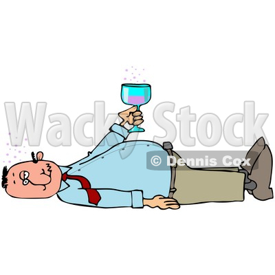 Clipart Illustration of a White Man Laying On His Back After Passing Out From Getting Too Drunk, Holding A Glass Of Alcohol Over His Belly © djart #27826