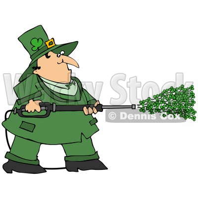 Clipart Illustration of a Chubby Leprechaun in Green, Spraying Clovers From a Power Washer on St Patrick's Day © Dennis Cox #28015