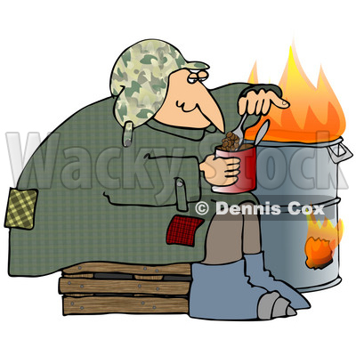 Clipart Illustration of a Homeless Caucasian Man Eating Beans Out Of The Can While Sitting Beside A Fire In A Trash Can © djart #28208