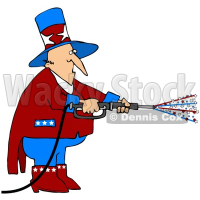 Clipart Illustration of Uncle Sam In Red, White And Blue, Using A Power Washer And Spraying Out Stars On Tax Day Or The Fourth Of July © djart #28225