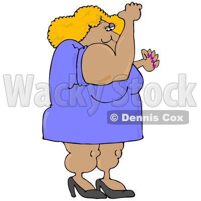 Clipart Illustration of a Strong And Muscular Blond Body Builder Woman Wearing A Dress And Heels And Flexing Her Muscles © djart #28263