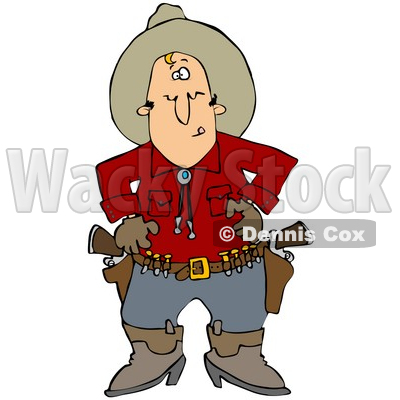 Clipart Illustration of a White Cowboy In A Red Shirt, Standing At The Ready, Prepared To Pull Both Pistils In His Belt And Shoot © djart #28672