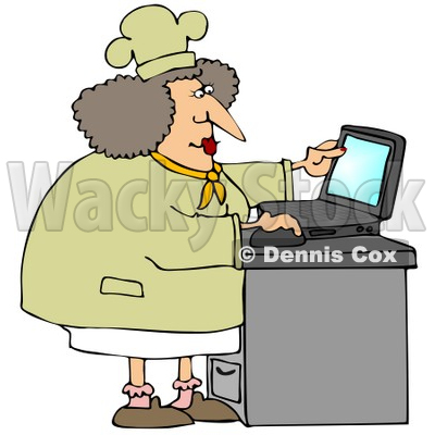 Clipart Illustration of a Chubby Female Chef In A Hat And Coat, Using A Laptop Computer In A Kitchen To Browse The Internet For Good Recipes © djart #28674