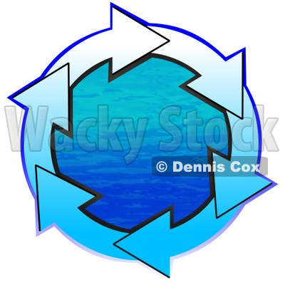 Clipart Illustration of a Circle Of Gradient White And Blue Arrows Around Blue Water © djart #28758