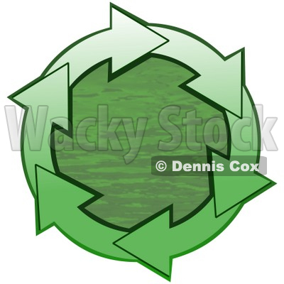 Clipart Illustration of a Circle Of Gradient Green Arrows Around Green Rippling Water © djart #28764