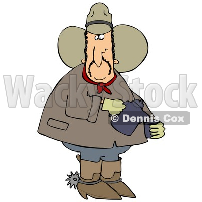 Clipart Illustration of a Chubby Cowboy In A Hat, Boots And Spurs, Pouring Coffee Into A Cup © djart #28958
