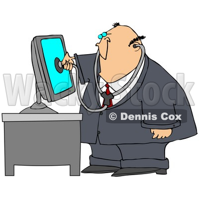 Clipart Illustration of a Chubby Computer Repair Doctor Holding A
