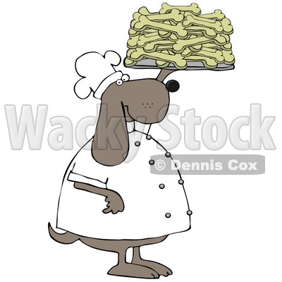 Clipart Illustration of a Pleased Dog Chef In A Uniform, Holding Up A Tray Of Doggy Biscuits In A Bakery © djart #29233