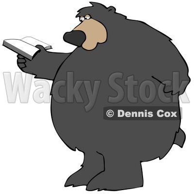 Clipart Illustration of a Big Bear Standing And Rubbing His Back While Reading A Book © djart #29248