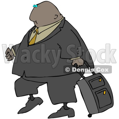 Clipart Illustration of a Black Businessman In A Suit, Pulling A Rolling Suitcase Behind Him © djart #29930