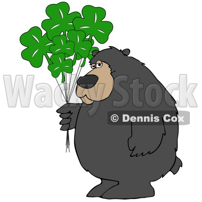 Clipart Illustration of a Big Bear Standing And Holding A Bunch Of Green Clover St Patrick's Day Balloons © djart #30277