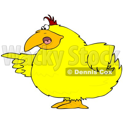Clipart Illustration of a Chubby Yellow Bird Pointing An Accusatory Finger At Someone © djart #30840