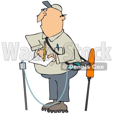 Clipart Illustration of a White Guy Taking Notes While Inspecting A Gas Leak © Dennis Cox #30876