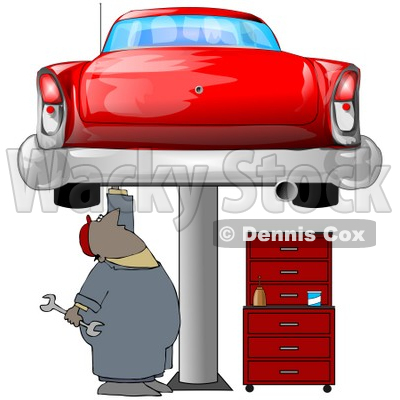Clipart Illustration of a Black Male Mechanic Holding A Wrench And Working On A Red Classic Car Up On A Lift In A Garage © djart #31523
