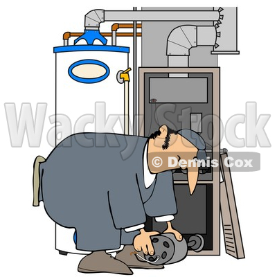 Clipart Illustration of a Furnace Repair Man Bending Over ...