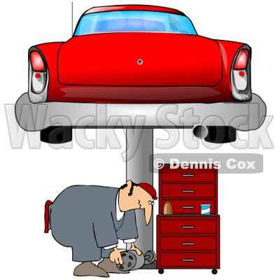 Clipart Illustration of a Male Mechanic Bending Over To Lift A Part While Working Under A Red Classic Car On A Lift In A Garage © djart #31623