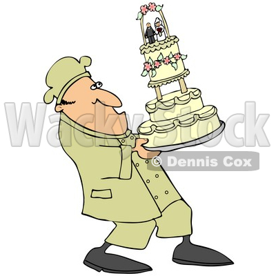 of a Nervous Chef Leaning Back And Carrying A Tall Wedding Cake