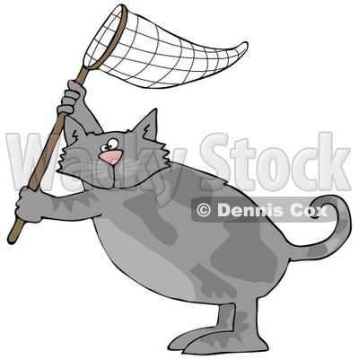 Clipart Illustration of a Gray Cat Standing On Its Hind Legs And Holding Up A Fishing Net © djart #32388