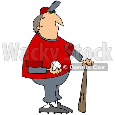 Clipart Illustration of a Chubby Male Coach In A Gray And Red Uniform, Standing With A Bat And Baseball © djart #33816