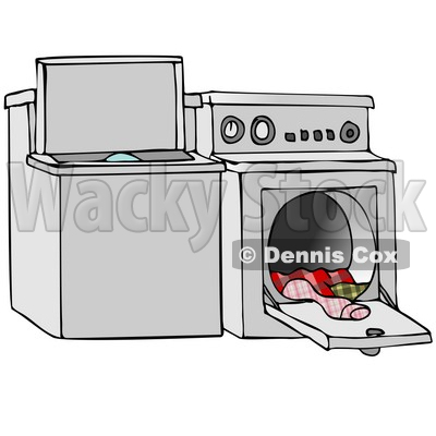 Washer And Dryer Clipart illustration of a top loading washing machine and an open dryer