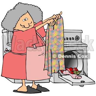 Clipart Illustration of a Gray Haired Woman Holding Up A Clean Towel In Front Of A Washer And Dryer While Doing Laundry © djart #33922