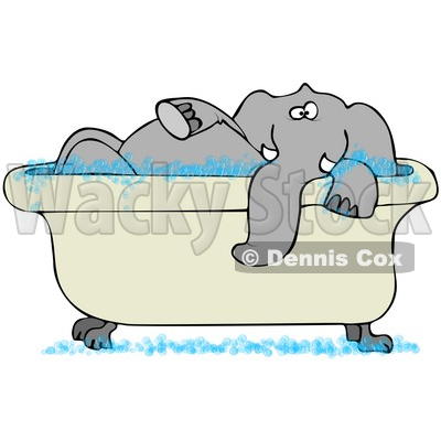Clipart Illustration of a Tusked Gray Elephant Taking A Bubble Bath In A Tub © djart #34432