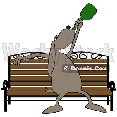 Clipart Illustration of a Drunk Dog Chugging Liquor On A Park Bench © Dennis Cox #36993