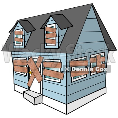 Clipart Illustration of a Blue Foreclosed Home With Boarded Up Windows And Doors © djart #37003