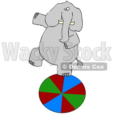 Clipart Illustration of a Circus Elephant Walking On A Ball © djart #37008
