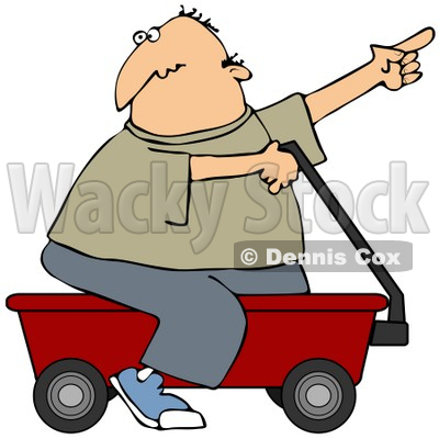 Clipart Illustration of a Man Pointing And Riding On A Red Wagon © djart #37012