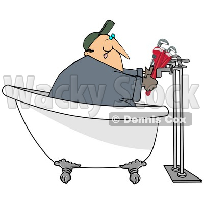 Clipart Illustration of a Male Plumber In A Claw Foot Tub, Installing Pipes © djart #37014