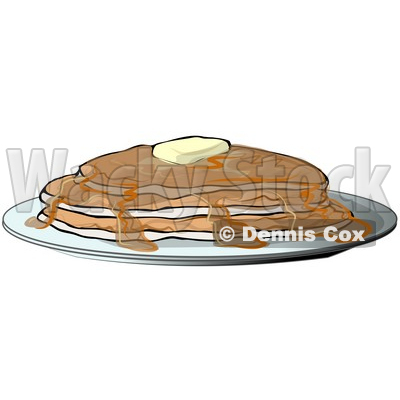 Clipart Illustration of Hot, Buttery Pancakes Served With Maple Syrup © djart #39033