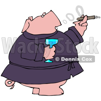 Clipart Illustration of a Wealthy Pig In A Robe, Drinking Champagne And Smoking A Cigar © djart #40571