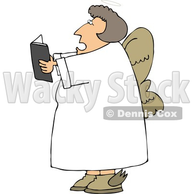 Female Angel Reading from a Book Clipart © djart #4108