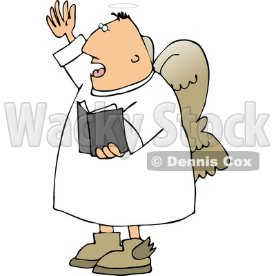 Male Angel Preaching at Church from a Bible Clipart © djart #4109