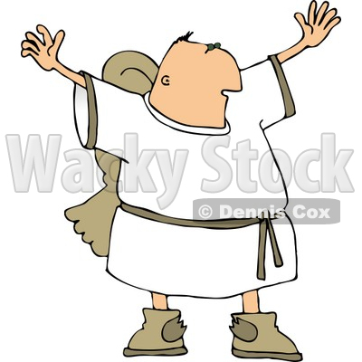 Religious Male Angel with Wings Trying to Grab Everyone's Attention Clipart © djart #4111