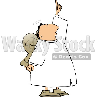 Male Angel with Wings Pointing Up Towards the Sky Clipart © Dennis Cox #4113