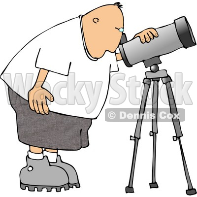 Male Astronomer Looking Through a Telescope Clipart © djart #4132