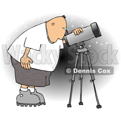 Male Astronomer Looking at the Sky Through a Telescope Clipart © djart #4134