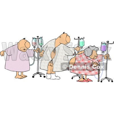 Ill Male and Female Patients Hooked up to IVs and Walking Around in a Hospital Clipart © djart #4136