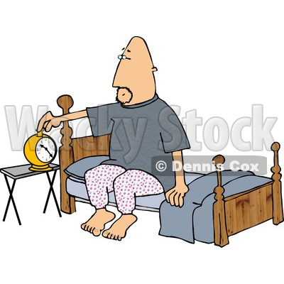 man setting his alarm clock before going to sleep in his bedroom rh wackystock com kid going to bed clipart girl going to sleep clipart