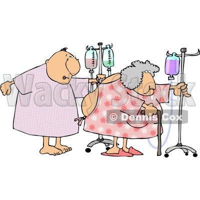 Hospitalized Elderly Couple Walking with IV Drip Lines in a Hospital Clipart © djart #4138