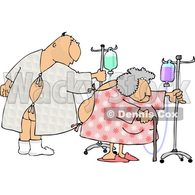 Hospitalized Man and Woman Walking with an IV Drip Clipart © djart #4139
