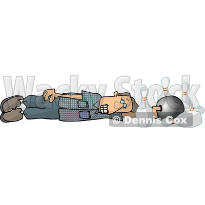 Male Bowler Sliding with His Bowling Ball, Down the Lane, and Into the Pins Clipart © djart #4142